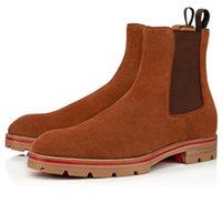 2020 Lüks Tasarımcı Kırmızı Alt Boot Erkekler Için Ayakkabı Ayak Bileği Çizmeler Küme Stil Siyah Süet Buzağı Zarif erkek Düşük Topuklu Çizmeler Kırmızı Sole