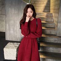 Новая осень и зима с длинным рукавом Корейский тонкий пуловер вязание вязание о-образных вырезов Основные женские моды повседневные платья женщины Q1229
