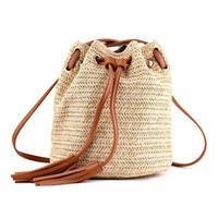 Umhängetasche Damen Stoff Sommer Strand Taschen mit Quasten Weben Crossbody Tasche Frauen Weben Geld Bank Strickstrand Handtasche
