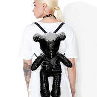 Brand Sale INS HOT Leisure Fashion Punk Metal Zipper Black Gothic Stylish Cosplay Bags Bears Backpack for Girls Women Q1129