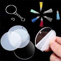 36pcs / set bricolage artisanat fait à la main souvenir transparent rond clé acrylique porte-clés disques Pendentif Tassel multicolore Porte-clés Keychain E112402