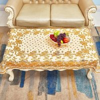Table Cloth European-Style Tablecloth Rectangular Household Bronze PVC Waterproof Oil-Proof Lace Plastic