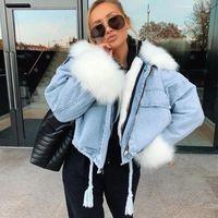 패션 가짜 모피 여성을위한 대형 데님 재킷 2020 Winter Streetwear Parkas 숙녀 빈티지 두꺼운 긴 소매 코트 의류