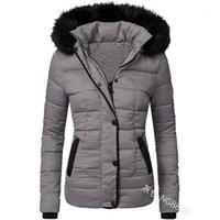 Women's Down Parkas Swqzvt Winter Femmes Manteau Collier à fourrure À manches longues Mince Couleur Solid Coton Veste à capuche Tops1