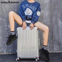Viagens 20 polegadas carregam ons suictase bag bagagem código spinner rodas mulheres moda mala rosa ouro trole