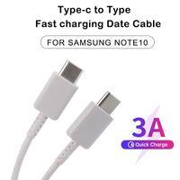 USB Tipo-C a tipo C CARGO CABLE RÁPIDO PARA SAMSUNG GALAXY S20 NOTA 10 NOTA 20 Soporte PD 3A Cordones de carga rápida