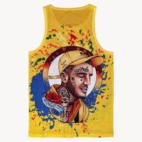 Sweat-shirt sans manches Tapots de réservoirs pour hommes Vêtements Réservoirs en maille respirant Populaire Hip Hop Sporting for Mens Print Vest Yellow