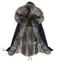 Lavelache Yeni Kış Gerçek Fox Kürk Uzun Parka Erkekler Gerçek Tavşan Kürk Astar Doğal Kürk Yaka Kapşonlu Kalın Sıcak Erkek Ceket 201217