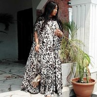 Roupas étnicas Classic Manga Curta Africano Leopardo Imprimir Vestido para Mulheres Moda Afrimaine Robe Long Maxi África Roupas Kanga Vestuário1