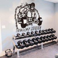Büyük Kral Kong Spor Salonu Vücut Geliştirme Su Isıtıcısı Çan Duvar Sticker Spor Crossfit Fitness Stüdyo Motivasyon Duvar Çıkartması Vinil 201106