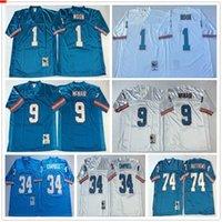 NCAA Top Vintage Futbol Formaları # 1 Warren Moon 34 Earl Campbell 9 Steve McNair 74 Bruce Matthews Mavi Beyaz Yetişkin Dikişli Jersey
