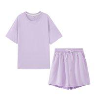 Summer sports suit women's two piece casual suit cotton oversized T-shirt High Waist Shorts candy dress