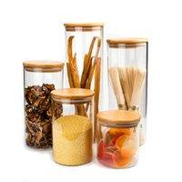 Vidrio transparente Almacenamiento de alimentos Cereales Spaghetti Botsters Cubra Frascos Botellas para botellas de vidrio de alimentos líquidos de arena con tapa de bambú