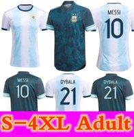 2020 3xl 4xl argentina futebol jersey 20 21 Versão do jogador copa casa longe camisa de futebol messi dybala aguero lo celso martinez tagliafico homens