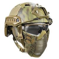 Juego de Guerra Máscara táctica de Airsoft Casco Gafas de Cs Ejército del paintball que buscan la motocicleta sólido de color rápido Casco Q1117