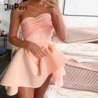 Jillperi Mujeres sin tirantes Vestido de cumpleaños Moda Malla Patchwork Irregular Celebridad Parte Mini Vestido Chic Pink Rosa Lindo Outfit1