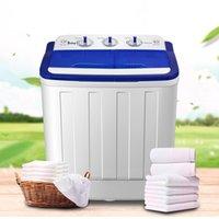 16LBS Portable semi-automatique mini machine à laver Machine à laver Compact Lave-baignoire Spin Sèche secue Blanc pour appartement Dortoirs Home