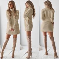 2021 Nuevo diseño de la moda europea de la moda de las mujeres de la manga larga del color sólido de la manga lana gruesa de lana gruesa de punto del suéter suelto de los bolsillos de los bolsillos.