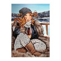 Gemälde 5D Square Diamant Malerei Sexy Frauen Kreuzstich Stickerei Fat Dame Winter Volle Runde Mosaik Strasssteine YN