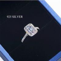 Handmade esmeralda corta 2ct laboratório diamante anel 925 esterlina de prata anéis de banda de casamento para mulheres nupcial festa festa jóias 201218