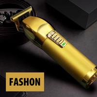 Moda Metal Clipper Clipper Razor eléctrico Hombres Steel Head Afeitadora Cabello Color Oro Color Cargador USB
