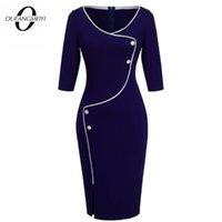 Kadınlar Kısa Düğme Zarif Düz Renk Retro Yuvarlak Boyun Bodycon Ofis Bayan Elbise EB329