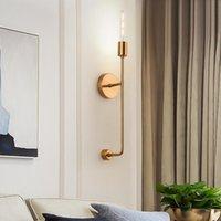 Lámpara de pared de cristal moderna Restaurante Dormitorio Pared de pared Nordic Copper Decor Luminaria LED Lámparas de interior Lámparas de sala de estar