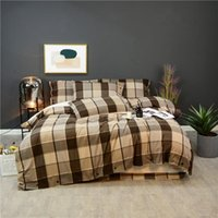 100%Cotton Thick Bedding set 4Pcs Queen King Plaid Gingham 800TC Ultra Soft 1 Duvet cover with Button 1 Bed Sheet 2 Pillowcases