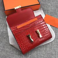 2020 Designer Constance Portafogli BORSA Mini borse Borse Borse Borsa Borsa Real in pelle Alligatore Black Pink Brevi portafogli con scatola