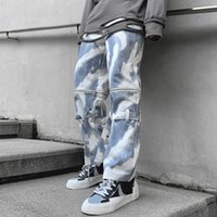 Herren High Street Casual Hosen Lose Mode Streetwear Klassische Reißverschluss Jeans Blaue Farbe Biker Jeanshose Größe M-2XL