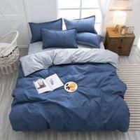 مجموعات الفراش 2021 سميكة طويلة الأساسية القطن تكريم حك 3/4 قطعة مجموعة سرير الكتان ورقة غطاء لحاف لحاف
