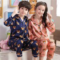 Мультфильм шелковые дети пижамы для девочки набор осенние девочки с длинным рукавом для детей наборы для мальчиков Пажамас наборы для детей Pajamas набор Y200328