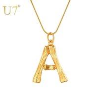"""U7 grandes letras bambu pingente iniciar colares para mulheres com 22 """"cadeia de cobra diy alfabeto jóias melhor presente de dia de mãe p1211 y1130"""