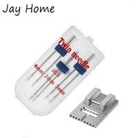 Nähen Vorstellungen Werkzeuge Doppelkopf Machine Nadel mit 5/7/9 Nut Pintuck Nähfuß für Haushaltszubehör1