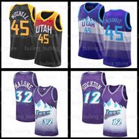Donovan 45 Mitchell Jersey Mike 10 Conley Karl 32 Malone Rudy 27 Gobert John 12 Stockton 2020 2021 Nouvelle Utahle jazzMaillots de basketball