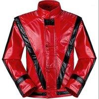Venta al por mayor- Rare MJ Michael Jackson Thriller Children Kids Chaqueta Disfraces Red Patchwork xxs-4xl Top Calidad Faux Cuero Outwear Outwear con Glove1