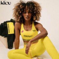Kliou Женские наряды скинни протягивают два штуки набор Высокоэластичный фитнес спортивная спортивная спортивная спортивная спортивная одежда Спортивная спортивная одежда 201104