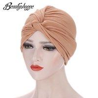 Berretto / cranio tappi solidi color india cappello musulmano elastico elastico ruffle turbante cancro chemio berretto berretto a testawadps accessori da donna