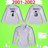 1902 2002 с длинным рукавом Ретро Футбол Джерси 100 ZIDANE FIGO RAUL RONALDO 01 02 REAL MADRID 2001 2002 Урожай футбольная футболка 100 лет