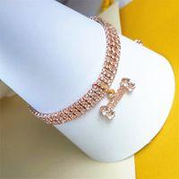 Haustiere Halskette Drei Reihen Strass Kristall Knochenform Anhänger Halsketten Katzen Hunde Kette Mode Zubehör Geschenke Schöne 9 5cj n2