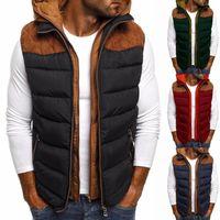 Gilet da uomo Moda uomo Color Block Block Zipper Pocket senza maniche con cappuccio Giacca in cotone Giacca Cappotto Allentato casual a vento