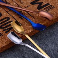 Cucharas de hielo de cabeza cuadrada Suministros de cocina de acero inoxidable Suministros de cocina de mango largo Postre de oro Coctel de oro Scoops Scoops Drop Ship LLS139
