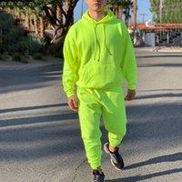 Neon Green Style Мужская мода Touchsit Сплошные 2 штуки с длинным рукавом Hoody + Свободные повседневные повседневные Спортссы Мужчины Новый OMSJ LJ201123