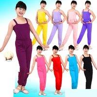 Стадия носить девочки дети латинские балетные балетные балетные комбинезоны детские хлопковые гимнастические подтяжки брюки черные фиолетовые танцевальные костюмы танцевальные одежды1