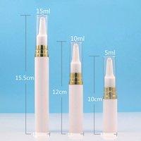 5ml / 10ml / 15ml Crema per gli occhi Rifiutabile Aspirabile Boccetta Oro Bianco Plastica Airless Pompa Imballaggio Bottiglia Crema Emulsione Subpackage Bottle
