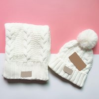 Hot Fashion Brand Men And Women Winter High Quality Warm Scarf Hat Suit Full Knit Hat Warm Party Hat 6 Colors HH9-3620