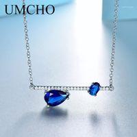 Correntes UmCho Trendy Genuine Genuine Gemstone 925 Sterling Silver Jewelry Mulheres Colares para Partido Presente Pequeno Pequeno Choker Acessórios1