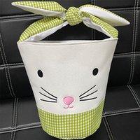 Osterhänen-Taschen Barrel Eimer-Korb-Plaid-Patchwork-Cartoon-Kaninchen-Ohr-Bowknot-Leinwand-Taschen-Tasche Neujahrsgeschenke Ei-Süßigkeiten Handtasche E120906