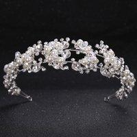 Tuanming Crystal Pérola Flower Noiva Headbands Mulheres Princesa Princesa Casamento Cabelo Jóias Tiara Hairbands Acessórios De Cabelo Coroa Y200409