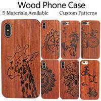 Cassa del telefono di legno dell'incisione su misura per iPhone 12 11 Pro Max x XR 8plus copertura rigida Scultura del telefono del telefono di legno per Samsung S20